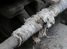 Asbestos rope  in poor condition
