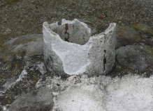 Broken piece of asbestos cement pipe